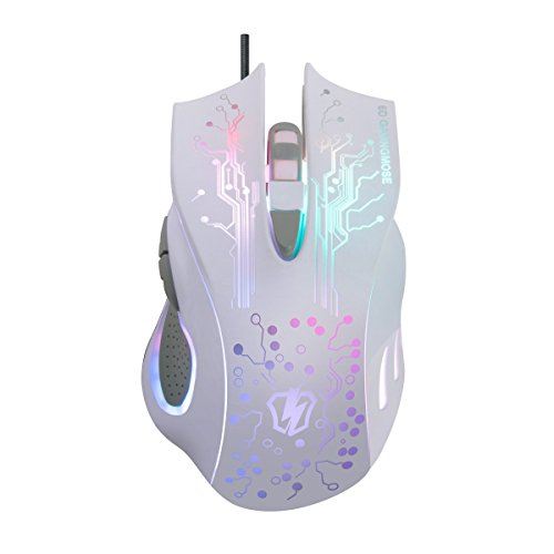 srocker S3 USB Wired LED Gaming Maus Ergonomische optische Gaming-Mäuse 4 verstellbare DPI Stufen mit 7 Farbe Breathing Licht und sechs Tasten für Pro Gamer - Wheel Usb Wired Optical Mouse
