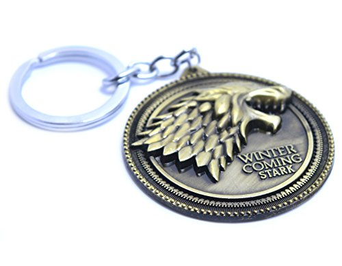 Portachiavi il trono di spade winter is coming, famiglia stark, con il sigillo del lupo di jon snow, yellow