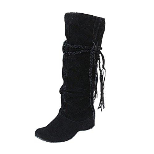 Damen Schuhe Dasongff Damen Stiefel Fransenstiefel Langschaft Stiefel Erhöhen Sie Plattform Stiefel Motorrad-Schuhe Runde Flache Stiefel Schlupfstiefel Schuhe Boots (EU:36, Schwarz) (Diamant-motorrad-shirt)