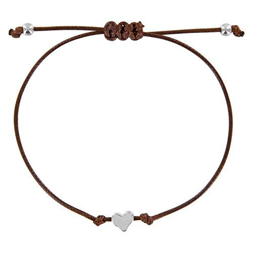 StarAppeal Herz Freundschaftsarmband, Armband mit Perlen in Silber und Gold mit hochwertiger Wachsschnur gefertigt, Damen, Mädchen Armband (Braun-Silber)