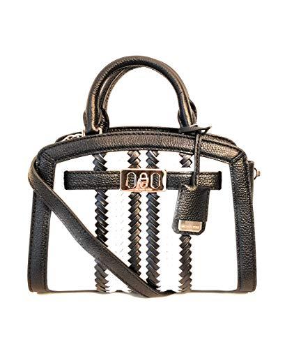 Michael Kors kleine Handtasche und Schulterriemen Karson weiss Leder schwarz 22x16x7cm neu