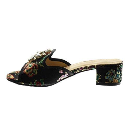 Angkorly Scarpe Moda Sandali Mules Slip-On Donna Strass Gioielli Ricamo Tacco a Blocco Alto 4 cm Nero