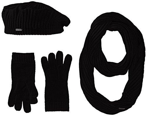 Calvin Klein Damen 3 Piece Rib Knit Scarf Set Schal für kaltes Wetter, schwarz, Einheitsgröße