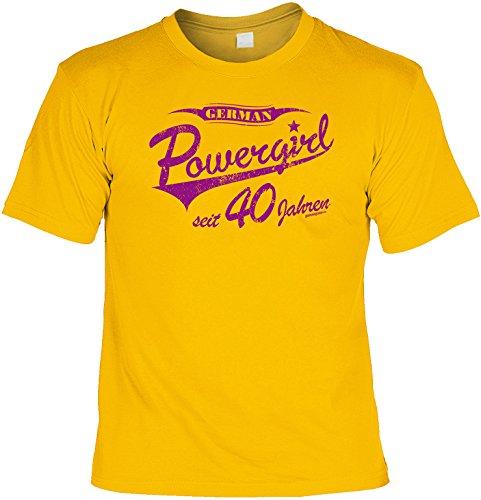 Spaß/Fun-Shirt mit Geburtstags - Aufdruck: German Powergirl seit 40 Jahren - lustiges Geschenk Gelb