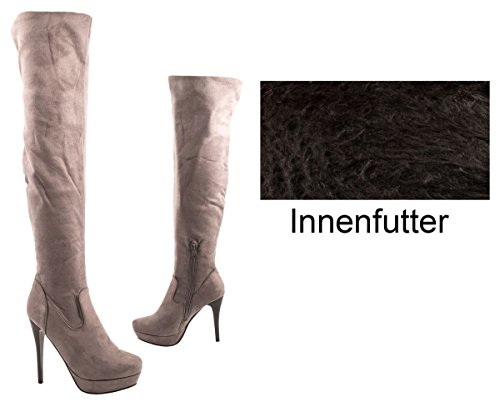 Elara Damen Overknees | Bequeme Langschaft Stiefel | Wildlederoptik High Heels Grau
