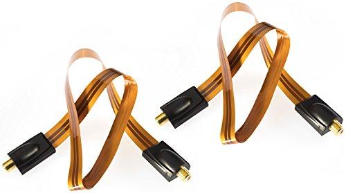 Poppstar 2x 52cm SAT Fensterdurchführung, Türdurchführung für Koax Kabel Kupplung (F-Stecker), sehr flach (0,2mm) für Fenster und Türen, vergoldete Kontakte, orange