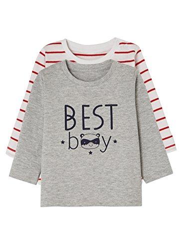 Vertbaudet 2er-Pack Baby Jungen-Shirts, Bedruckt Grau+Rot Gestreift 92 (Rot Jungen Shirt Gestreift)
