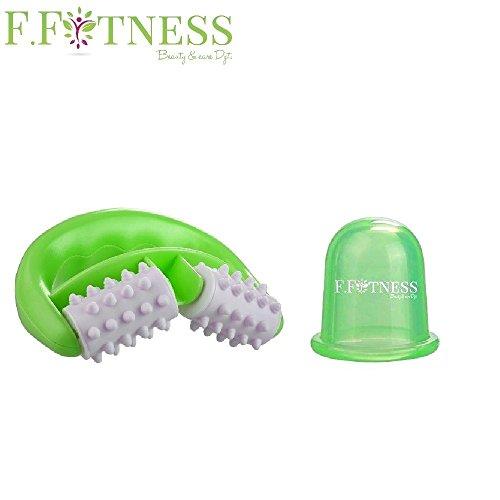 Foto de Rodillo anti celulitis Fit Roll + ventosa - Aparato de masaje anti celulitis. Tratamiento delgadez eficaz en las piernas, el vientre, caderas, nalgas y brazo - color verde