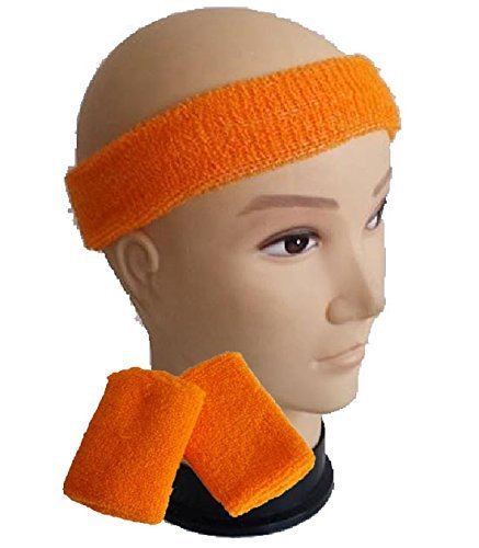 Kids Neon Orange 80s Workout Set with headband and wristbands
