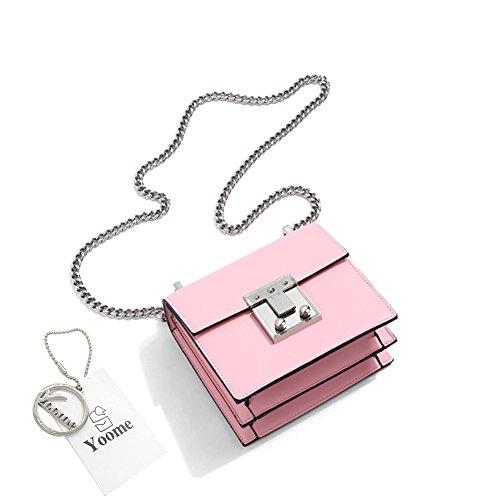 Sacchetti Retro Sacchetti Retro Borsa Flap Bag Yoome Punk Per Donne Borse Piccole Per Borse Catena Trucco Per Ragazze - Nero Rosa
