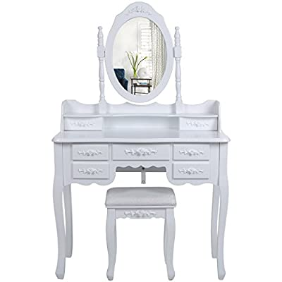 Songmics Wall-Fixed Dressing Table Set 7 drawers with 2 Dividers, 145 x 90 x 40 cm with mirror and stool, White Vanity Dresser RDT10W produced by Songmics - quick delivery from UK.