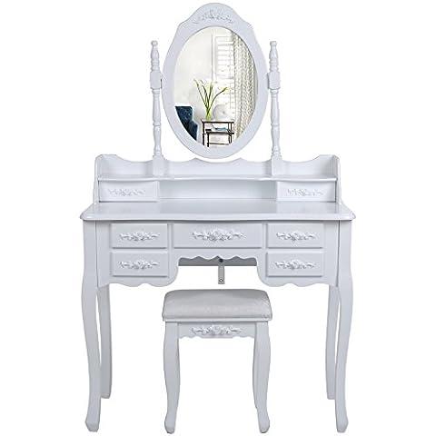 Songmics Tocador con 7 cajones, espejo y taburete mesa de maquillaje blanco RDT10W