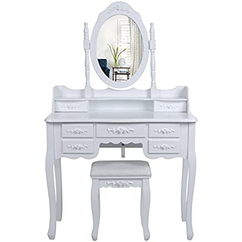 Songmics Wall-Fixed Dressing Table Set 7 drawers with 2 Dividers, 145 x 90 x 40 cm with mirror and stool, White Vanity Dresser RDT10W