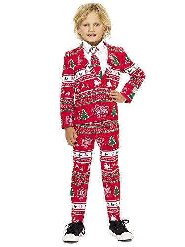 Winter Wonderland Kinder Kostüm - OppoSuits Weihnachtsanzüge für Jungen besteht aus Sakko, Hose und Krawatte, Winter Wonderland, Rot, Gr. 98/104