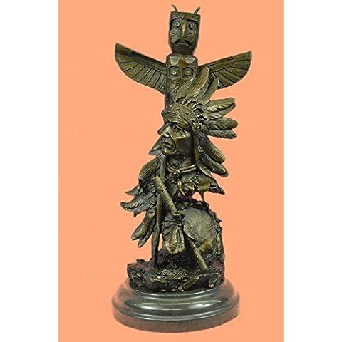 Escultura bronce estatua...Envío gratis...Original firmada Fisher Guerrero indio con Totem Pole Bird(YRD-1137-EU)Estatuas estatuilla estatuillas desnuda Oficina y Decoración del hogar Coleccionables