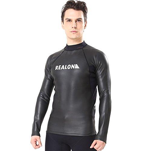 Realon Surfen Neoprenanzug 2 mm Smooth Skin Lange Ärmel Shirt Tauchanzug Top (2X-Große)