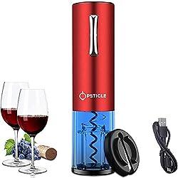 OPSTICLE Tire-Bouchon électrique, Ouvreur de vin électrique Rechargeable, Ouvre Bouteille Automatique sans Fil - pour Tous Les Amateurs de vins et d'oenologie (Un coupeur de Film)