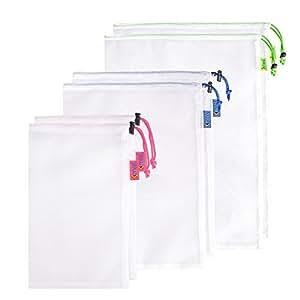 Kmool eco-friendly lavabili e riutilizzabili borse in mesh per la spesa, Nylon, White, 3 colors,6 packs