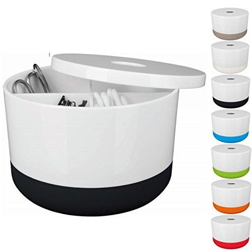 Spirella Kosmetikorganizer Moji mit individuell verstellbaren Fächern Aufbewahrungsbox für Make Up und Schmuck 15x9cm mit Deckel Weiß/Schwarz