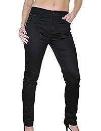 ICE (1478-1) Pantalon en Jeans Chinos Moulant Extensible Noir Brillant pour Femmes Grandes Tailles