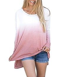 Aelegant Damen Langarmshirt Gradient Tie-Dye Farbe Rundkragen Oberteile  Unregelmäßig Loose Fit mit Brusttasche def741d0e9