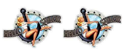 Hello Sailor Seeman Seemansbraut Sexy Pinup Girl Boot Ship Aufkleber Sticker + Gratis Schlüsselringanhänger aus Kokosnuss-Schale + Auto Motorrad Laptop Tuning Racing Motorsport Hoonigan Harley Davidson Biker-girl