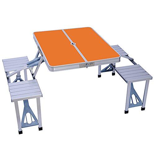 Stühlen Picknick-tisch Folding Mit (LVZAIXI Tragbare Camping Klapptisch, Aluminiumlegierung Outdoor Garten BBQ Picknick Party Esszimmer Stühle Hocker Set ( Farbe : Orange ))
