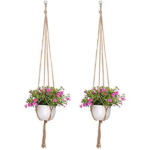 2x Worsendy Pflanzenhänger Indoor Outdoor Blumentopf Pflanzenhalter Makramee Hänger Pflanze,Blumentöpfe Seil Blumentöpfe zum Aufhängen Pflanzenhalter Baumwolle Aufhänge Seil -