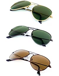 TheWhoop Super Combo UV Protected Classic Green And Brown Unisex Aviator Sunglasses For Men, Women, Girls, Boys