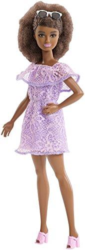 Mattel Barbie - Fashionistas Puppe, im lila Spitzenkleid, mit Blumenmuster