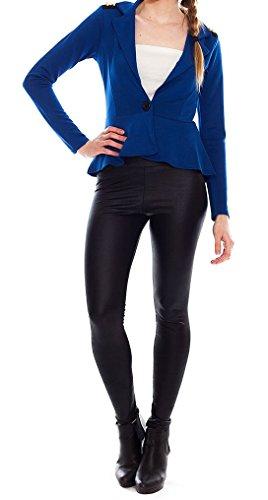 Fast Fashion – Peplum De Veste Manches Longues Des Pointes Plaine Bouton L'épaule - Femmes Bleu Roi