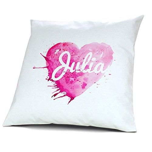 Kopfkissen mit Namen Julia - Motiv Painted Heart, 40 cm, 100% Baumwolle, Kuschelkissen, Liebeskissen, Namenskissen, Geschenkidee 3