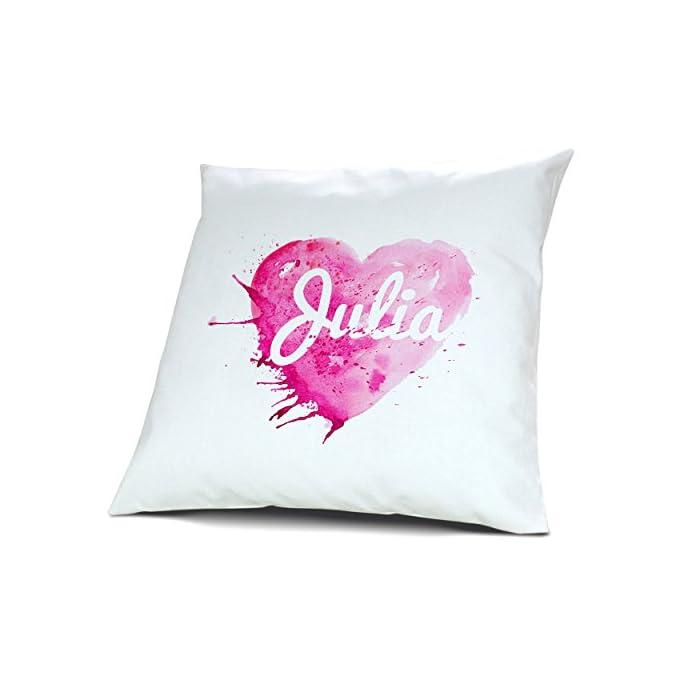 Kopfkissen mit Namen Julia - Motiv Painted Heart, 40 cm, 100% Baumwolle, Kuschelkissen, Liebeskissen, Namenskissen…