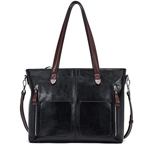 BOSTANTEN Damen Ledertaschen Schultertasche Frauen Designer Handtasche 14 15 Zoll Laptoptasche Tote Bag Schwarz -