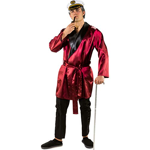 NET TOYS Satin-Morgenmantel für Herren Womanizer | Dunkelrot | Lässiges Männer-Outfit Playboy-Schlafrock | Ideal für Nachthemdenball & (Hugh Hefner Playboy Kostüm)