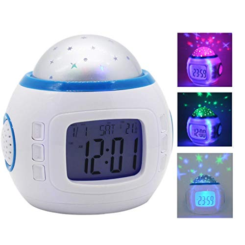 HWUKONG Projektionswecker, digital Home elektronische Uhr dekorative Musik Sternenhimmel projektionswecker Kalender Thermometer