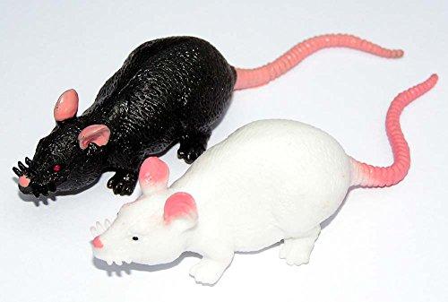 2 trendy Stretch Ratten 11 cm weiß+schwarz Gummidesign Spieltier Gummitier spielen+sammeln Mitbringsel (Weißer Kostüm Wal)