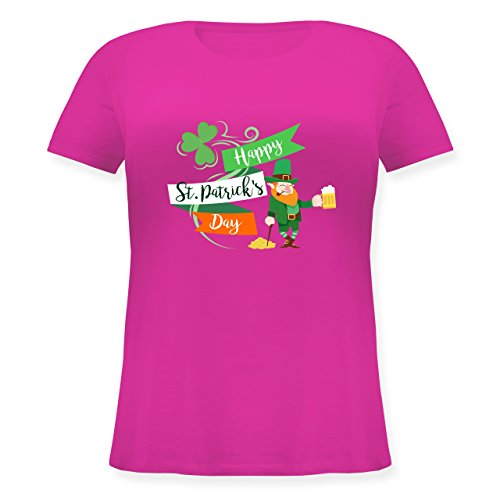 St. Patricks Day - Happy St. Patricks Day Kobold - M (46) - Fuchsia - JHK601 - Lockeres Damen-Shirt in großen Größen mit Rundhalsausschnitt (Damen Kobold Kostüm Tshirt)