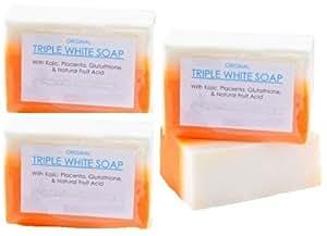 Pack de 3 Prime glutathion Savon Kojic Acid Placenta Blanchiment de la peau Lightening Bar CG3