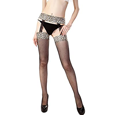 Ambysun Hosiery Lepoard Stay Up Thigh High Stockings with Garter Suspender Belts