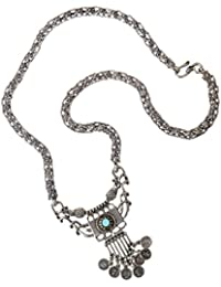 Sansar Indian Oxidized Silver Plated Mini Coins Blue Stone Necklace For Girls And Women