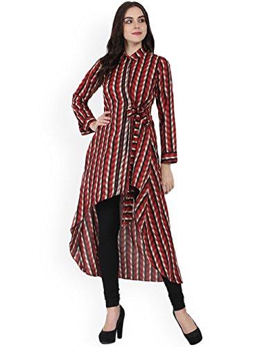 Frauen Baumwolle Red & Black Printed A Line Kurta mit Kragen, lange Ärmel, High Low Herm, kein Schlitzen Größe-Groß -