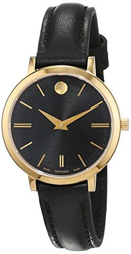 Movado Damen Datum klassisch Quarz Uhr mit Leder Armband 607095