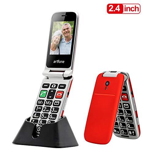 Seniorenhandy, Artfone Klapphandy Mobiltelefon Senioren-Handy Großtastenhandy ohne Vertrag mit großen Tasten 2,4 Zoll Farbdisplay Notruftaste Taschenlampe Kamera GSM Dual SIM Rentner Handy (Rot)