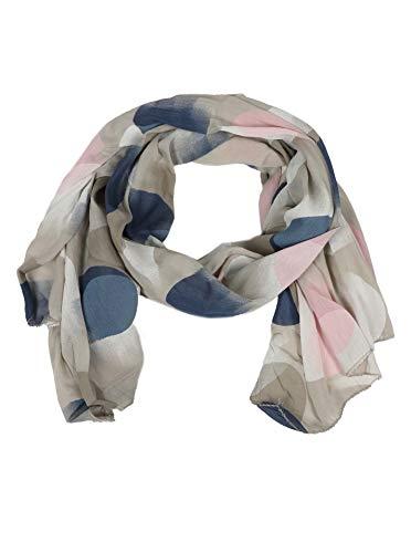 Zwillingsherz Seiden-Tuch mit Punkte Motiv - Hochwertiger Schal für Damen Mädchen - Halstuch - Umschlagstuch - Loop - weicher Schlauchschal für Frühjahr Sommer Herbst und Winter - beige