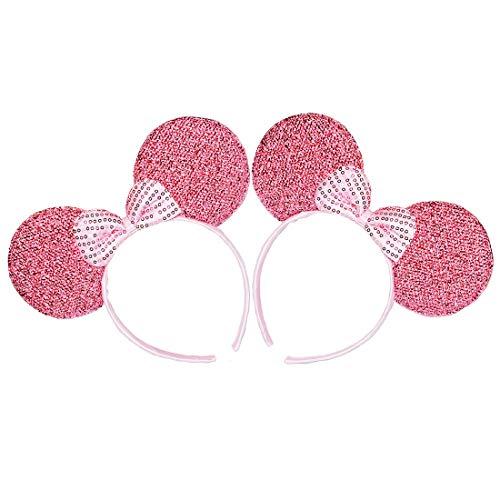 2 Stücke Mickey Minnie Rosa Glitzer Paillette Bogen Stirnbänder für Geburtstag Halloween Partys Mama Jungen Mädchen Haarschmuck Schöne Maus Ohren Haarreife Dekorationen (Rosa Glitzer Paillette)