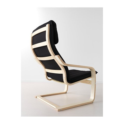 IKEA Schwingsessel 'Poäng' Sessel Freischwinger aus Birkenholz – Polster Alme SCHWARZ - 2