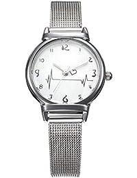 Relojes Pulsera Mujer,Escala De Corazon De Reloj Femenino Cinturón De Malla Simple Reloj De