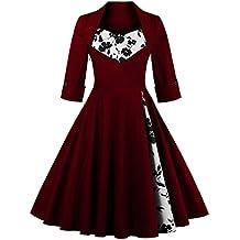 VKStar® Robe de Soirée Femme Manches Longues Robe Coton Vintage Rétro Mi-longue Robe Fête Cocktail Swing Rockabilly