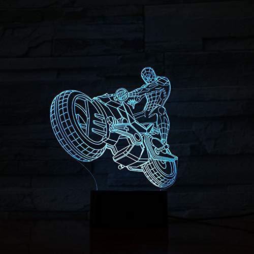 3D Tischlampe Motorradfahrer Farbwechsel Beste Gegenwart Kinder Atmosphäre LED Nachtlicht Tischlampe Hologramm